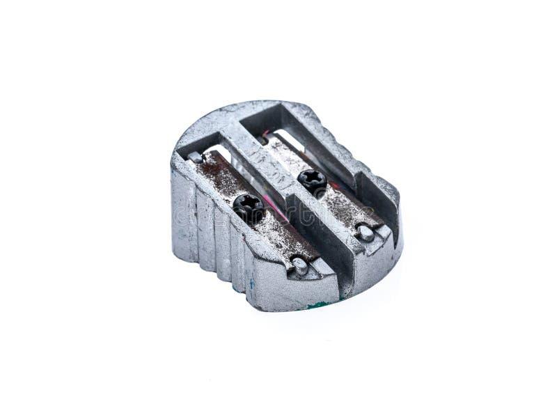 Apontador de aço metálico de prata usado velho isolado no whit imagem de stock