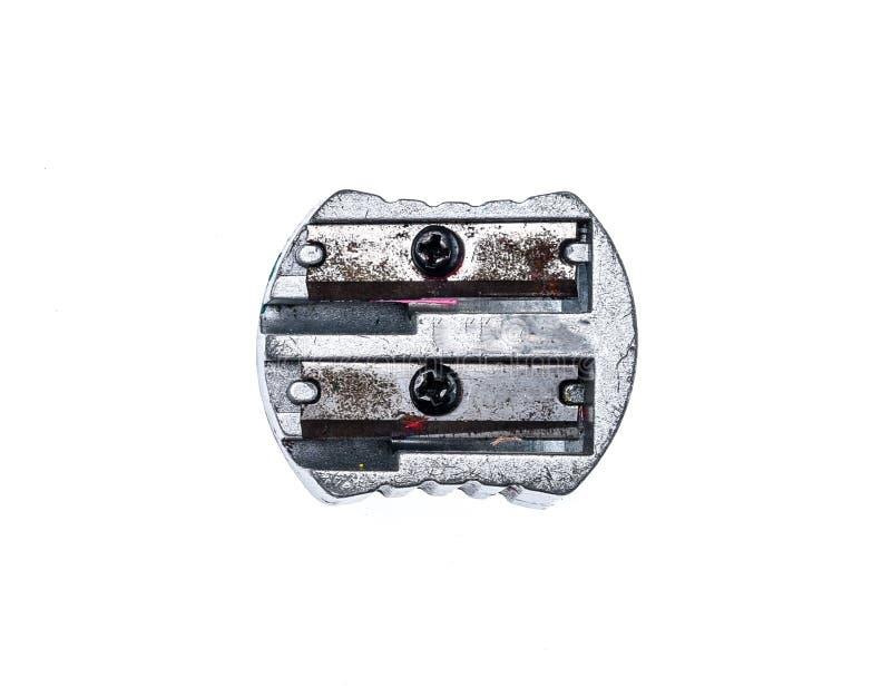 Apontador de aço metálico de prata usado velho isolado no whit foto de stock