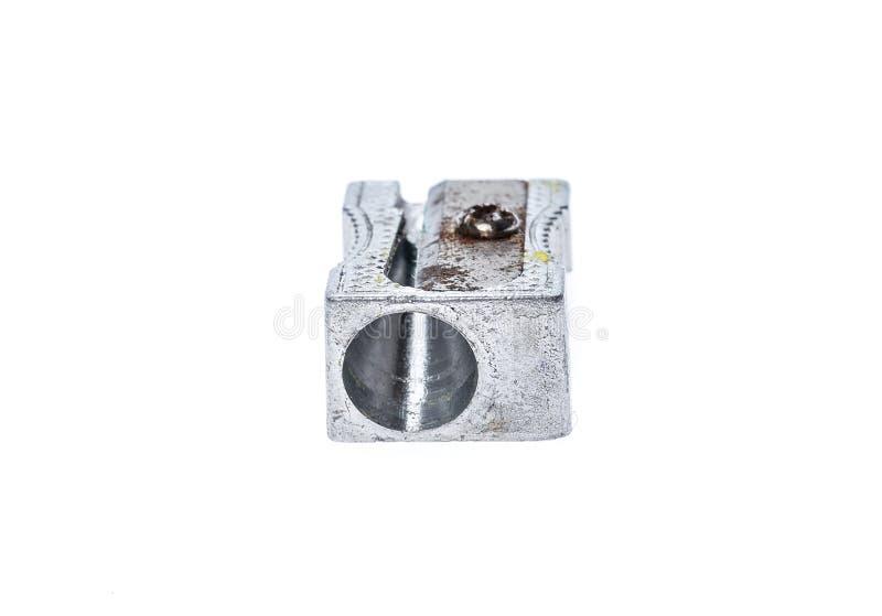 Apontador de aço metálico de prata usado velho isolado no whit fotografia de stock