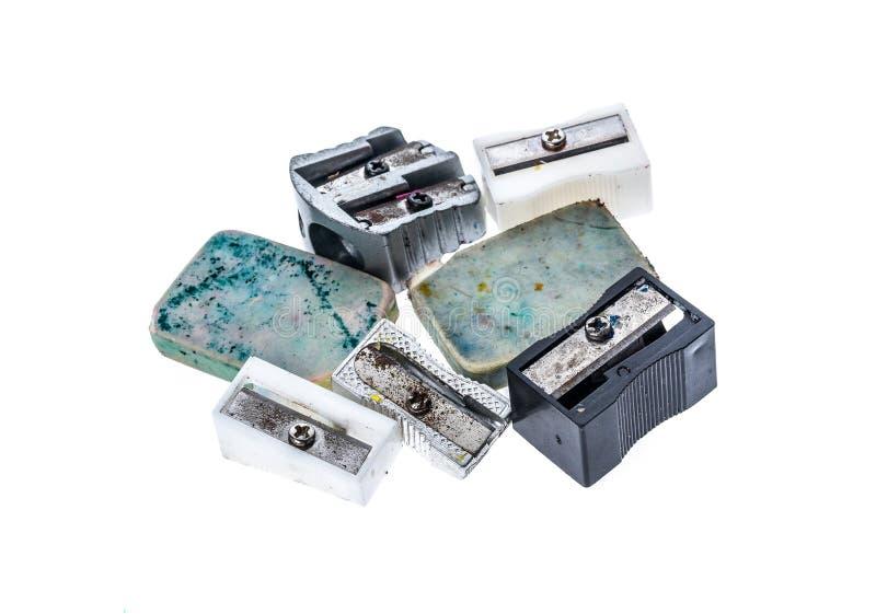 Apontadores usados velhos diferentes e Pen Erase de borracha branco imagem de stock