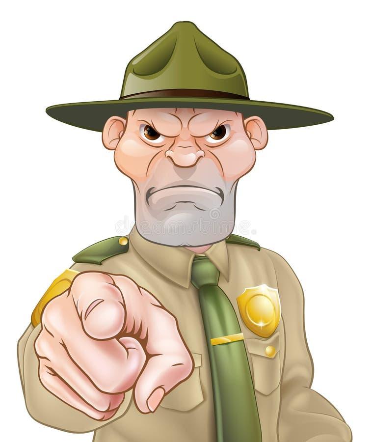Apontando desenhos animados Forest Ranger ilustração royalty free