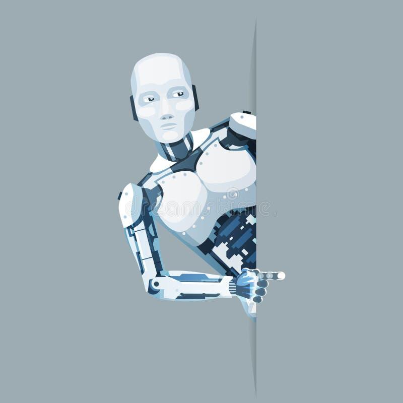 Apontando do dedo da mão do androide do robô do olhar a venda futura 3d da ficção científica da tecnologia da ajuda online do can ilustração stock