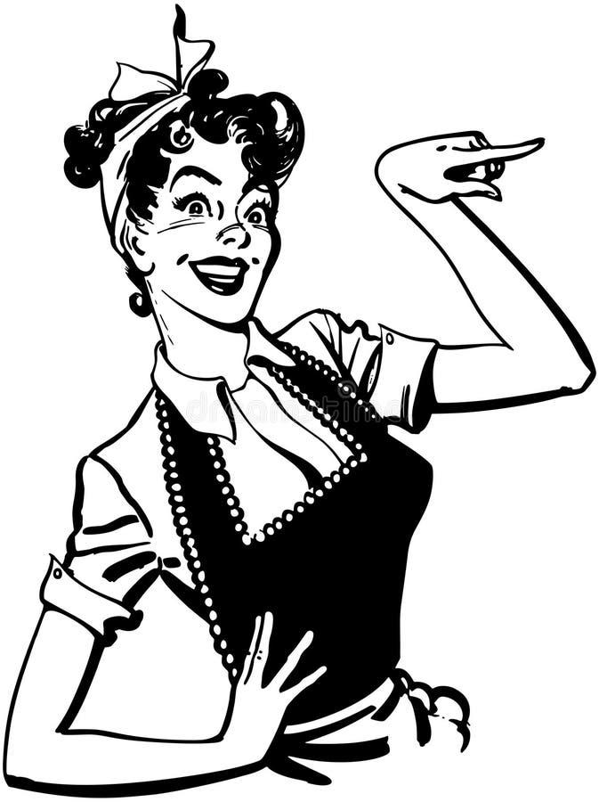 Apontando a dona de casa ilustração royalty free