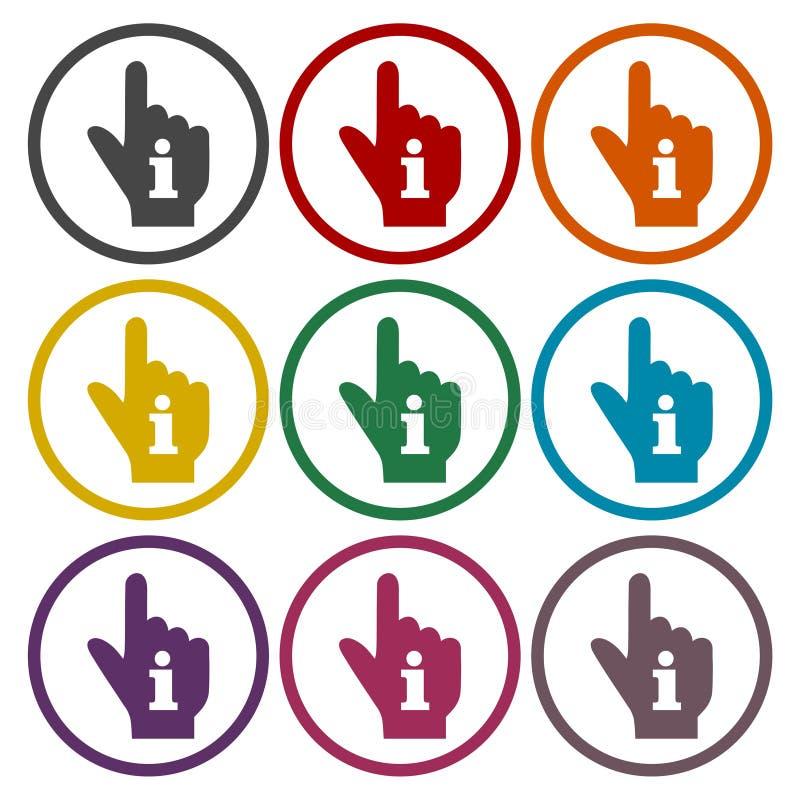 Apontando a mão do dedo com um grupo da etiqueta do sinal da informação ilustração do vetor