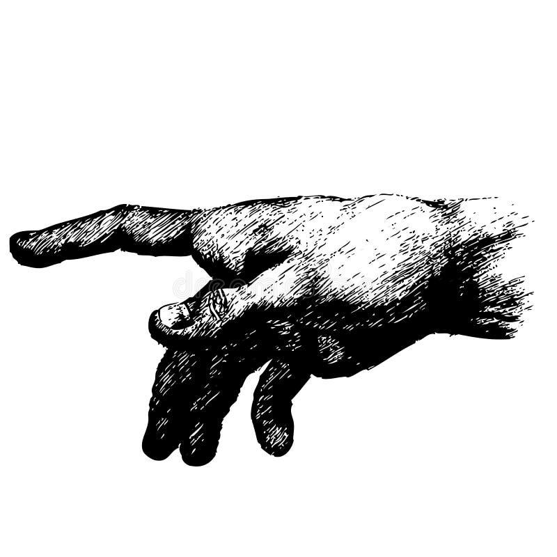 Apontando a mão do ser humano do dedo ilustração stock