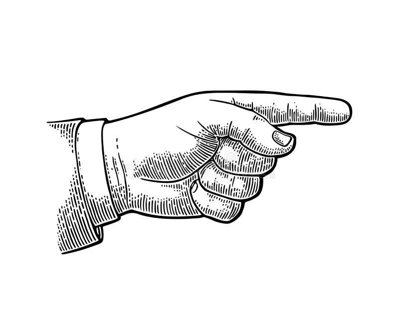 Apontando o dedo Entregue o sinal para a Web, cartaz, gráfico da informação ilustração do vetor