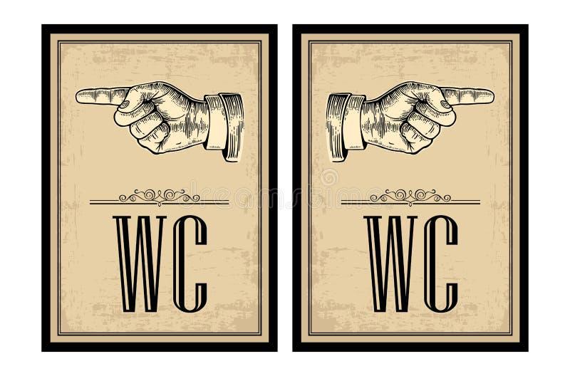 Apontando o dedo Vector a ilustração gravada vintage em um fundo bege Entregue o sinal para a Web, cartaz, gráfico da informação ilustração stock
