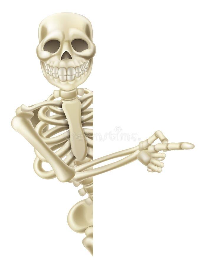 Apontando o esqueleto de Dia das Bruxas dos desenhos animados ilustração do vetor
