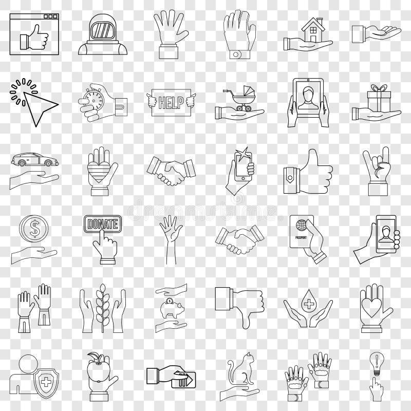 Apontando o grupo dos ícones, estilo do esboço ilustração royalty free