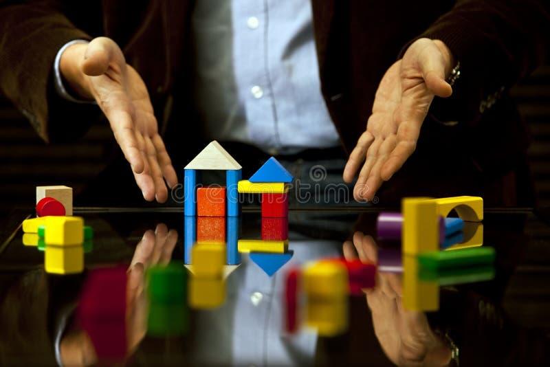 Apontando o projeto, conselho, bens imobiliários, perícia imagem de stock