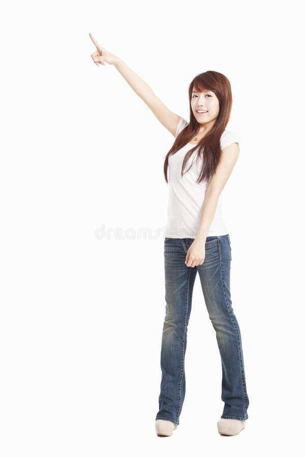 Apontar asiático da mulher fotografia de stock royalty free
