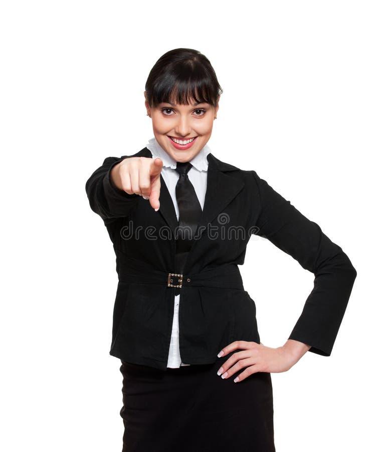 Apontar da mulher de negócios do smiley imagem de stock royalty free