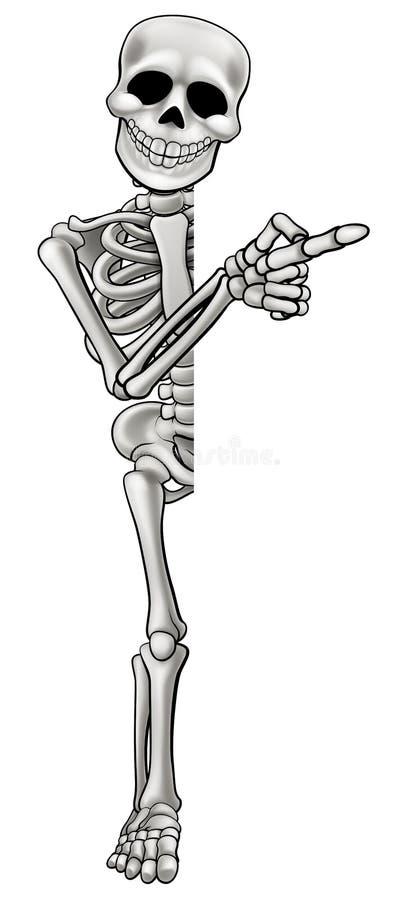 Apontar de esqueleto do personagem de banda desenhada ilustração stock