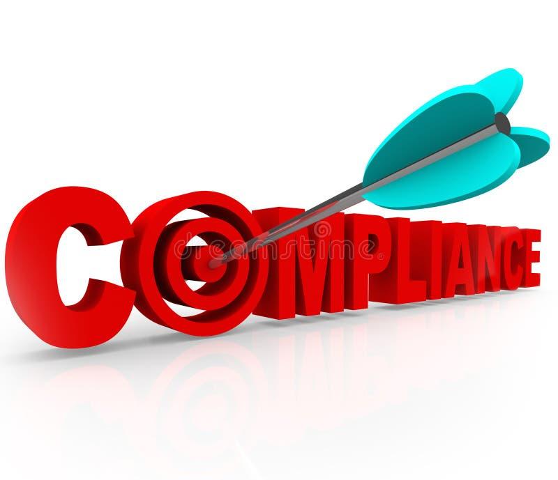 Apontar do alvo da conformidade segue a diretriz dos regulamentos das leis das regras ilustração royalty free