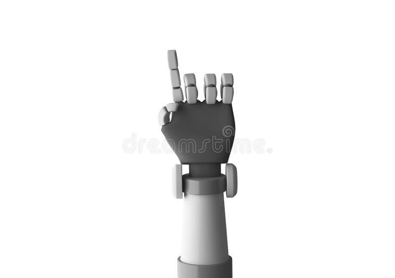 Apontar do dedo do robô isolado no fundo branco em futurista ilustração do vetor
