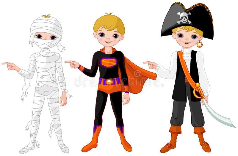 Apontar do menino de Dia das Bruxas ilustração do vetor