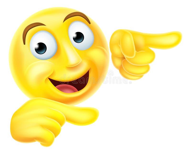 Apontar do smiley do emoticon de Emoji ilustração royalty free