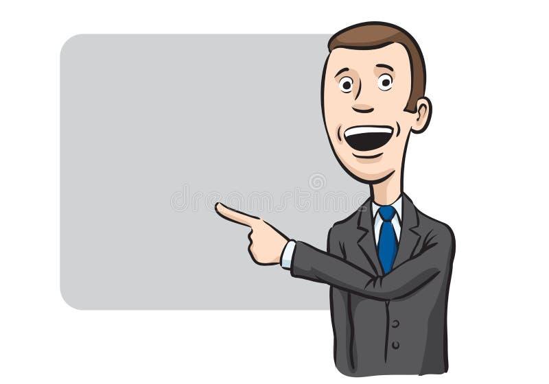 Apontar e speakinghone do homem de negócios da caricatura ilustração stock