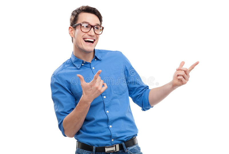 Apontar Geeky do homem foto de stock
