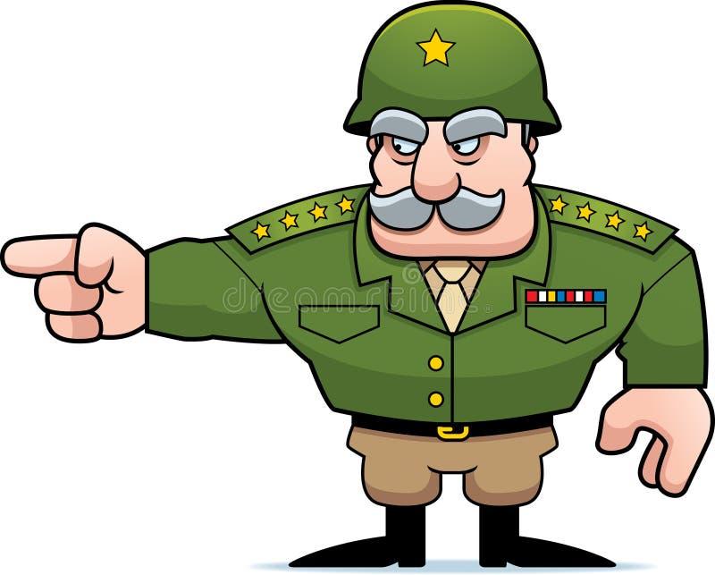 Apontar geral militar dos desenhos animados ilustração stock