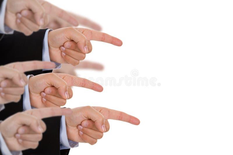 Apontar múltiplo das mãos imagens de stock
