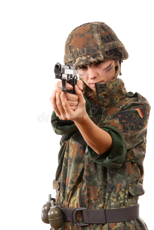 Apontar militar da mulher imagem de stock