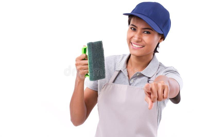 Apontar profissional do pessoal de serviço da limpeza fotografia de stock