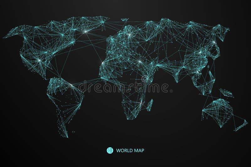 Aponte, linha composição do mapa do mundo, a implicação da conexão de rede ilustração do vetor