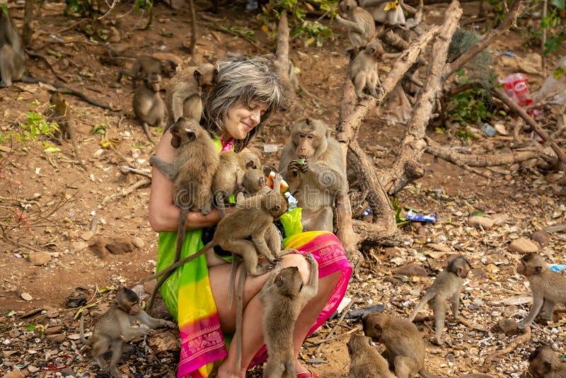 Apor omgav en lycklig turist som matar dem med frukt royaltyfria bilder