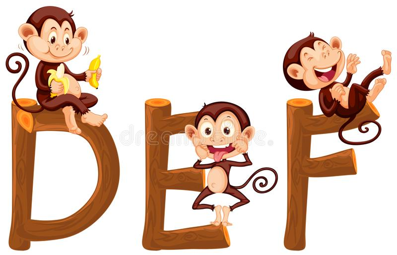Apor på engelskt alfabet stock illustrationer