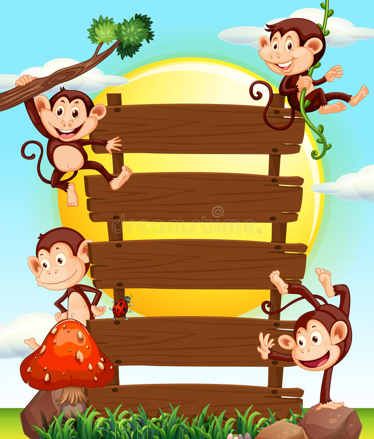 Apor på trätecken royaltyfri illustrationer