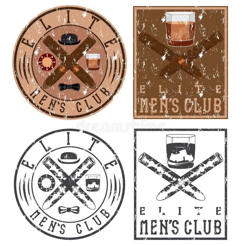 aporree las etiquetas del grunge del vintage con los cigarros y el vidrio del whisky libre illustration