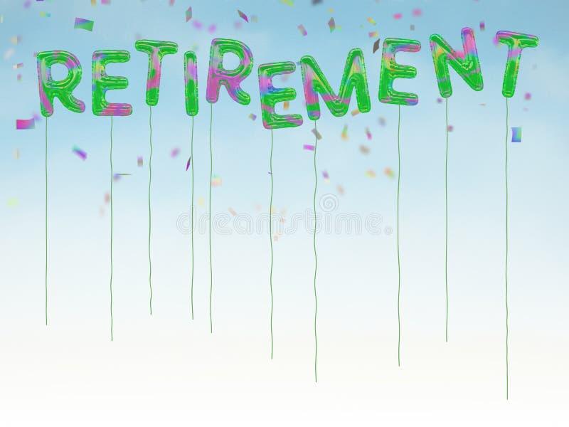 A aposentadoria feliz balloons com fundo dos confetes e do céu azul fotografia de stock royalty free