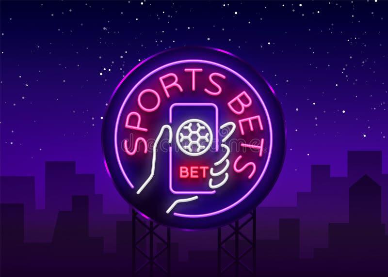 A aposta dos esportes é um sinal de néon Projete o molde, logotipo de néon do estilo, bandeira brilhante, propaganda da noite par ilustração royalty free