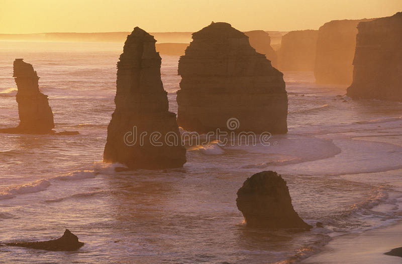 Apostel Australiens Victoria Great Ocean Road Twelve bei Sonnenuntergang stockbild