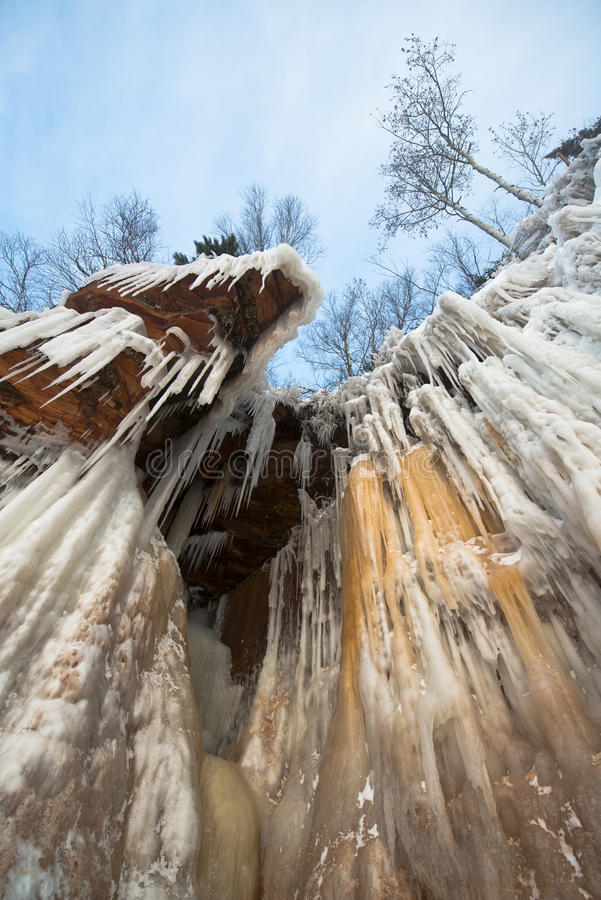 Apostel-Insel-Eis-Höhlen gefrorener Wasserfall, Winter stockfoto