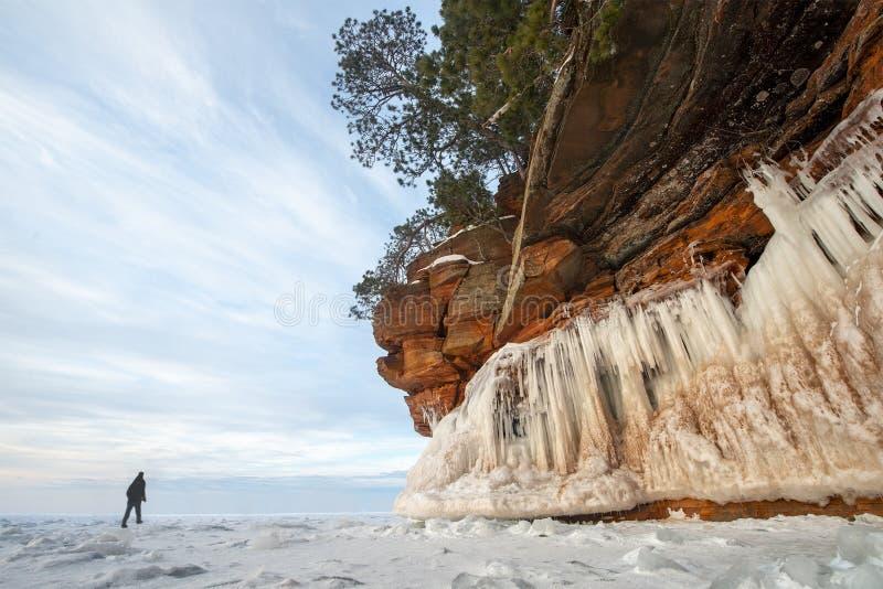 Apostel-Inseln gefrieren Höhlen, Winter, Reise Wisconsin lizenzfreie stockfotografie