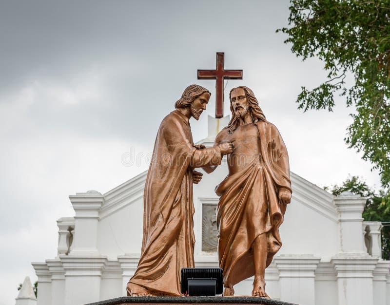 Apostle Doubting Thomas and Jesus Christ stock photography