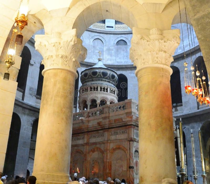 Apostoles' pillars, Rotonda, Edicule, Holy sepulcher church royalty free stock photo