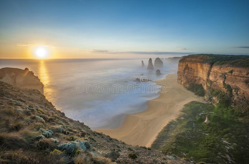 The 12 Apostles at sunset, Great Ocean Road, Australia stock photography