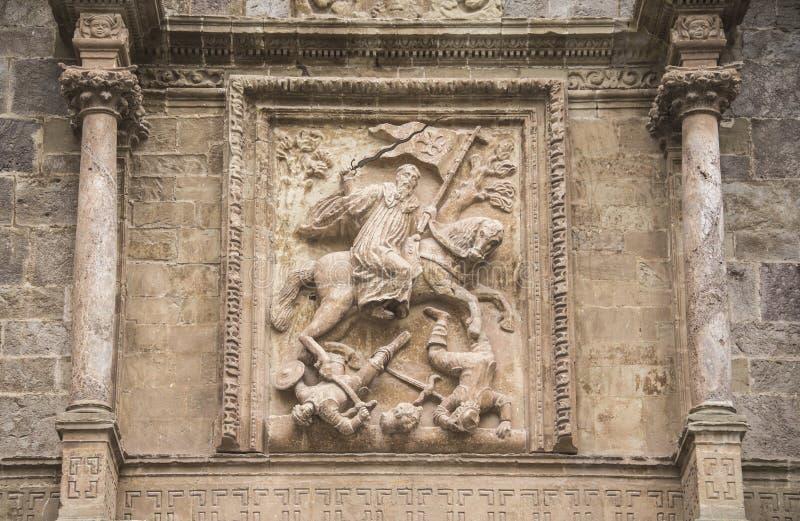 Apostoł Santiago Szczegół na fasadzie Yuso monaster zdjęcie stock