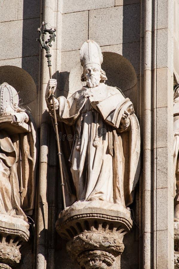 Apostolat de la façade occidentale de la cathédrale de Toledo images libres de droits
