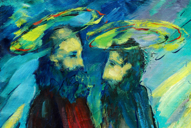 Apostoli peter e Paul, illustrazione della bibbia, dipingente dall'olio sopra fotografia stock