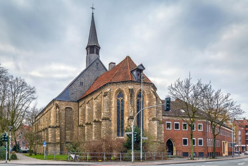 Apostolic Church, Munster, Germany. The Apostolic Church is an evangelical church in the historic center of Munster, Germany stock photo