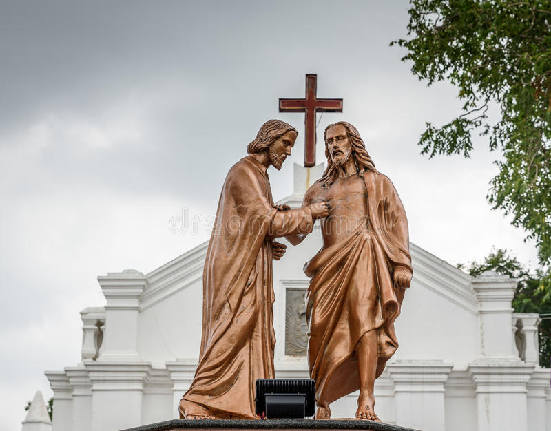 Apostolo che dubita Thomas e Jesus Christ fotografia stock