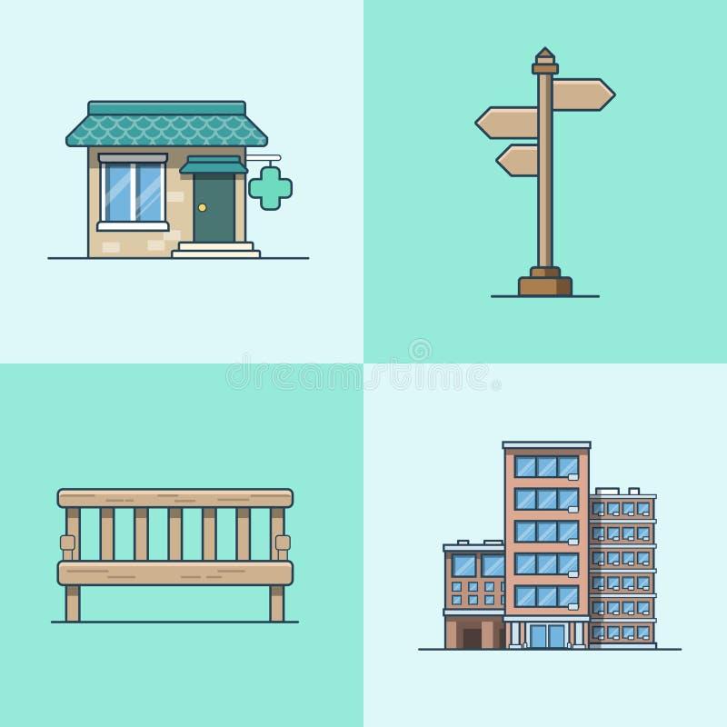 Apotek för arkitektur för skylt för stadsobjektbänk stock illustrationer