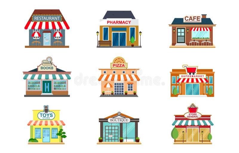 Apotek för lagerfasadrestaurangen shoppar kaféboksupermarket Front View Flat Icon vektor illustrationer
