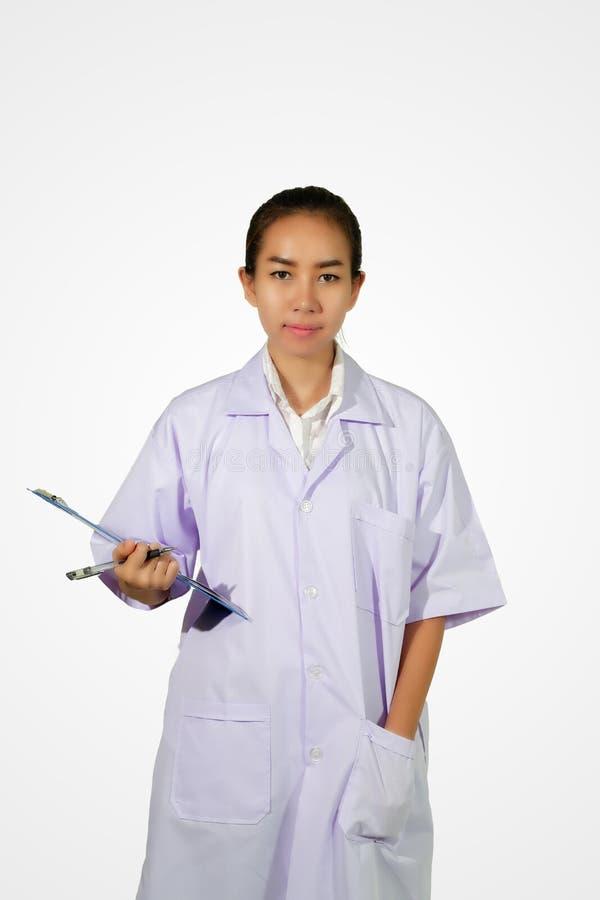 Apotekarekemist och kvinnaasiat för medicinsk doktor med stethosco royaltyfria foton