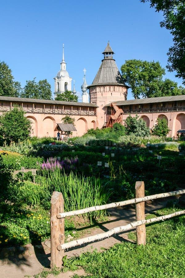 Apothecary garden of the Saviour Monastery of St. Euthymius, Russia, Suzdal stock images