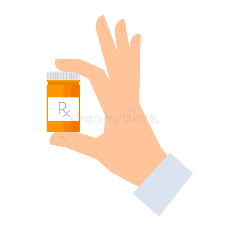 Apothecary holding container with drugs. vector illustration